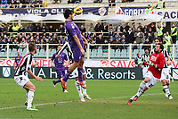 """Il GOL dell'1-0 di Luca Toni (Fiorentina)<br /> Goal Celebration Luca Toni (Fiorentina)<br /> Firenze 16/12/2012 Stadio """"Artemio Franchi""""<br /> Serie A 2012/2013<br /> Football Calcio Fiorentina Vs Siena<br /> Foto Insidefoto Luca Pagliaricci"""