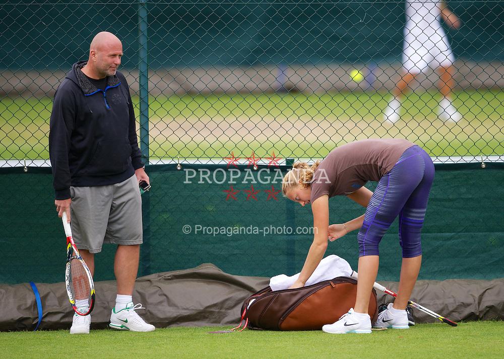 LONDON, ENGLAND - Friday, June 29, 2012: Petra Kvitova (CZE) and coach David Kotyza during practice on day five of the Wimbledon Lawn Tennis Championships at the All England Lawn Tennis and Croquet Club. (Pic by David Rawcliffe/Propaganda)