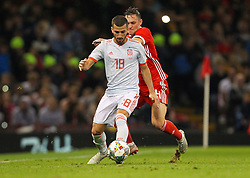 October 11, 2018 - Cardiff City, Walles, United Kingdom - Cardiff, Wales October 11, ..Jose Gaya of Spain and Connor Roberts of Wales battle for possession during Exhibition Match between Wales and Spain at Principality stadium, Cardiff City, on 11 Oct  2018. (Credit Image: © Action Foto Sport/NurPhoto via ZUMA Press)
