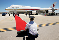 April 17, 2018 - West Palm Beach, Florida, U.S. - The red carpet is unfurled and straighten for Prime Minister Shinzo Abe and his wife  Akie Abe, at their arrival to Palm Beach International Airport. The Prime Minister will meet with President Donald Trump at Mar-a-Lago. (Credit Image: © Greg Lovett/The Palm Beach Post via ZUMA Wire)