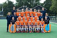 BLOEMENDAAL - teamfoto: voor: vlnr: Diana Beemster (Bldaal), Sterre Bregman (Bldaal) , Fee Schreuder (Bldaal) , Merel Aarts (Bldaal),  Pili Romang (Bldaal) , Laurien Boot (Bldaal) , Melle Spruijt (Bldaal) , Myrthe van Kesteren (Bldaal)  en Danique Visser (Bldaal). midden: coach Teun de Nooijer (Bldaal) , assistent coach Andre Morees (Bldaal) , Philine de Nooijer (Bldaal) , Sophie Schlatmann (Bldaal) , Noor Smit (Bldaal), , Bodine Boelaars (Bldaal) , Michelle van der Drift (Bldaal) , Cees Koppelaar (looptrainer), manager Edith Karsten (Bldaal) . boeven: fysio Jasper Flick (Bldaal) , Carmel Bosch (Bldaal) , Kim van Leeuwen (Bldaal) , Lisa Lejeune (Bldaal) , Anne Abendroth (Bldaal) , Nine Rijna (Bldaal) , Sanne Caarls (Bldaal) , trainer Kees van Schieveen.  Bloemendaal  Dames I seizoen 2018/2019. COPYRIGHT KOEN SUYK