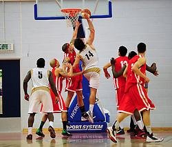 Essex Leopards' Greg Hernandez shoots - Photo mandatory by-line: Dougie Allward/JMP - Tel: Mobile: 07966 386802 23/03/2013 - SPORT - Basketball - WISE Basketball Arena - SGS College - Bristol -  Bristol Academy Flyers V Essex Leopards