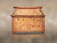 Minoan  pottery coffin chest with gabled lid and winged griffin decoration, Palaikastro 1370-1300 BC, Heraklion Archaeological  Museum.<br /> <br /> The larnax chest is decorated the same on both sides with a winged griffin, horns of consecration and double axes, lilies growing from a rock, a large bird and a fish among astral symbols .<br /> <br /> If you prefer to buy from our ALAMY PHOTO LIBRARY  Collection visit : https://www.alamy.com/portfolio/paul-williams-funkystock/minoan-art-artefacts.html . Type -   Heraklion   - into the LOWER SEARCH WITHIN GALLERY box. Refine search by adding background colour, place, museum etc<br /> <br /> Visit our MINOAN ART PHOTO COLLECTIONS for more photos to download  as wall art prints https://funkystock.photoshelter.com/gallery-collection/Ancient-Minoans-Art-Artefacts-Antiquities-Historic-Places-Pictures-Images-of/C0000ricT2SU_M9w