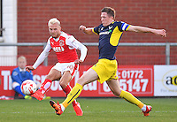 Fleetwood Town's David Ball battles with Oxford United's John Lundstram<br /> <br /> Photographer Dave Howarth/CameraSport<br /> <br /> Football - The EFL Sky Bet League One - Fleetwood Town v Oxford United - Wednesday 17th August 2016 - Highbury Stadium - Fleetwood<br /> <br /> World Copyright © 2016 CameraSport. All rights reserved. 43 Linden Ave. Countesthorpe. Leicester. England. LE8 5PG - Tel: +44 (0) 116 277 4147 - admin@camerasport.com - www.camerasport.com