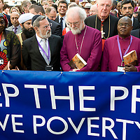 London July 23rd  The Archbishop of Canterbury Dr Rowan Williams  leads the walk from Parliament to Lambeth Palace..Hundreds of bishops from across the world  join a procession through central London calling for urgent action to tackle global poverty.