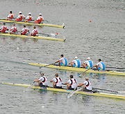Munich GERMANY,  GBR M4-, Bow and right, Alex PARTRIDGE, Rick EGINGTON, Alex GREGORY and stroke matt LANDGRIDGE, qualify, for Sundays final of the men's four at the 2nd Round FISA World cup on the Olympic Rowing Course Munich, Saturday  20/06/2009, [Mandatory Credit. Peter Spurrier/Intersport Images]