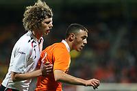 Fotball<br /> Nederland<br /> Foto: ProShots/Digitalsport<br /> NORWAY ONLY<br /> <br /> <br /> U21 Nederland / Holland v Norge<br /> <br /> seizoen 2008 / 2009 ,  05-09-2008 kerkrade jong oranje - jong noorwegen nordin amrabat in duel met arnar førsund
