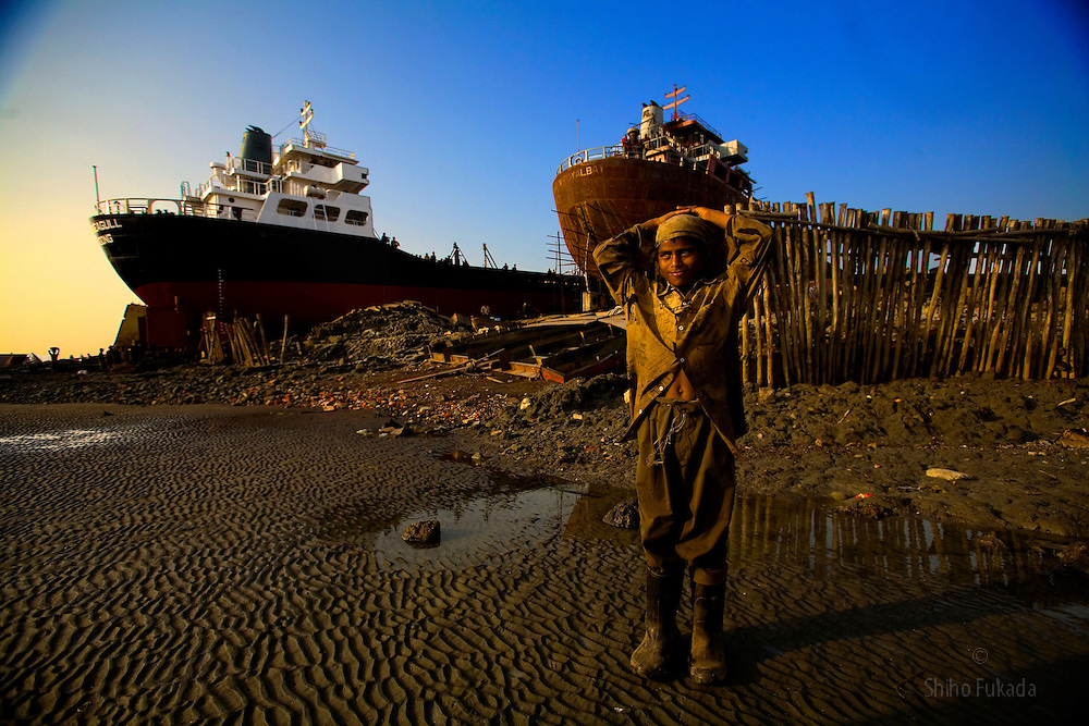 Paval, 10, cutter helper, is seen at ship breaking yard, in Chittagong, Bangladesh. He makes about 10tks per/hour (70tks=us1d).