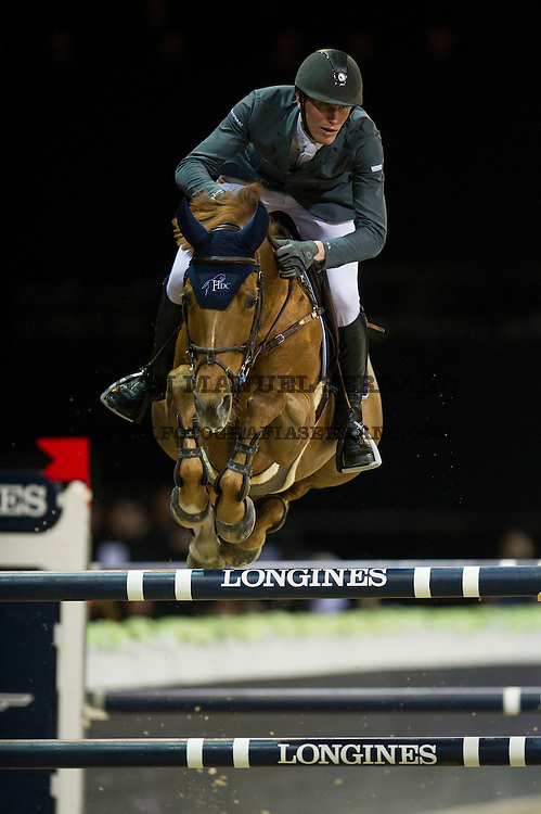 Kevin Staut on Ayade de Septon Et HDC competes during Hong Kong Jockey Club Trophy at the Longines Masters of Hong Kong on 19 February 2016 at the Asia World Expo in Hong Kong, China. Photo by Juan Manuel Serrano / Power Sport Images