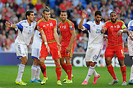 Gareth Bale of Wales (11) in action. Euro 2016 qualifying match, Wales v Israel at the Cardiff city stadium in Cardiff, South Wales on Sunday 6th Sept 2015.  pic by Andrew Orchard, Andrew Orchard sports photography.