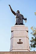 Miguel Hidalgo Father of Independence monument or El Padre de la Patria in the Plaza Hidalgo in the Barrio Antiguo of Monterrey, Nuevo Leon, Mexico.