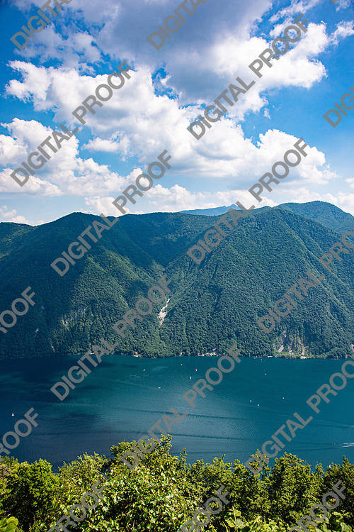 View of Monte Generoso as seen from Mont Bre Switzerland by day