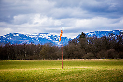 Windsock in field near Srathallan Castle, Perthshire, Scotland.