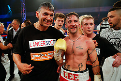 Coach Chris Sanigar celebrates with Lee Haskins after he beats Ryosuke Iwasa by 6th round stoppage to win the Interim IBF World Bantamweight Title in his home City of Bristol - Photo mandatory by-line: Rogan Thomson/JMP - 07966 386802 - 13/06/2015 - SPORT - BOXING - Bristol, England - Action Indoor Sports Arena - Lee Haskins vs Ryosuke Iwasa - Interim IBF World Bantamweight Title Fight.