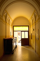 Entrance hall yellow arched doorway door