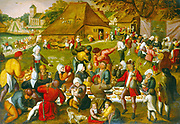 The Marriage Feast'. Man with bagpipes at bottom left. Guests feasting and drinking. Bride, wearing crown, sits at table on centre right.  Painting by Pieter Balten (1525-1598)  South Netherlandish painter. Oil on wood.