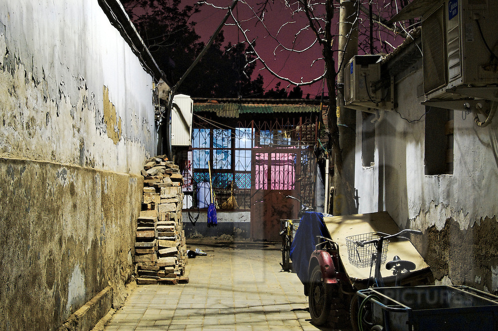 Deserted alleyway at night in a hutong, Beijing, China, Asia, 2011