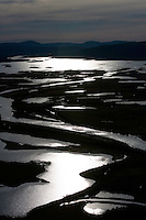View over Laitaure delta at sunrise, Sarek National Park, Laponia World Heritage Site, Sweden