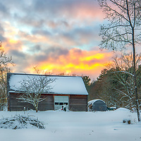 Rural winter landscape photography of a country barn at sunset near the Mass Audubon Broadmoor Wildlife Sanctuary in Natick Massachusetts.<br /> <br /> Barn in a winter wonderland at the Mass Audubon Broadmoor Wildlife Sanctuary photography images are available as museum quality photography prints, canvas prints, acrylic prints or metal prints. Prints may be framed and matted to the individual liking and room decor needs:<br /> <br /> https://juergen-roth.pixels.com/featured/barn-in-a-winter-wonderland-juergen-roth.html<br /> <br /> Good light and happy photo making!<br /> <br /> My best,<br /> <br /> Juergen