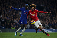 Tiemoue Bakayoko of Chelsea (L) and Maroune Fellaini of Manchester United (r) battle for the ball.<br /> Premier league match, Chelsea v Manchester United at Stamford Bridge in London on Sunday 5th November 2017.<br /> pic by Kieran Clarke, Andrew Orchard sports photography.