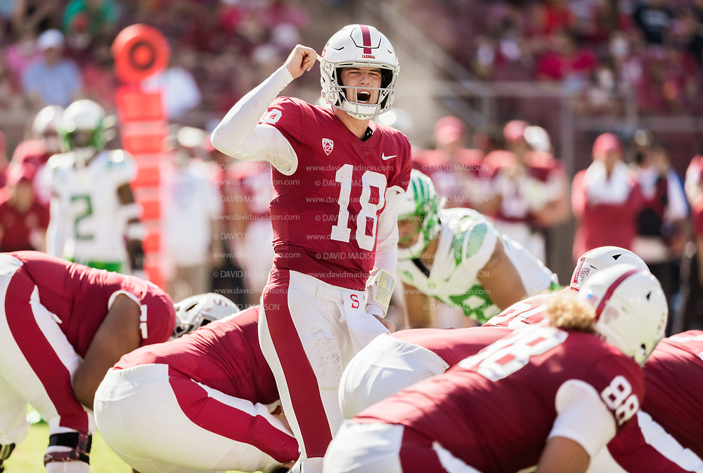 PALO ALTO, CA - OCTOBER 2:  Tanner McKee #18 of the Stanford Cardinal calls signals during an NCAA Pac-12 college football game against the Oregon Ducks on October 2, 2021 at Stanford Stadium in Palo Alto, California.  (Photo by David Madison/Getty Images)