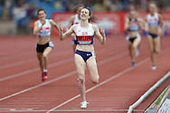 Laura Muir from Scotland winning the Women's 1500m Final. The British Championships 2016, athletics event at the Alexander Stadium in Birmingham, Midlands  on Sunday 26th June 2016.<br /> pic by John Patrick Fletcher, Andrew Orchard sports photography.