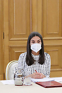072021 Queen Letizia attends working meeting on the impact on mental health during the pandemic