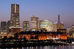 Evening view of skyline of Yokohama in Japan