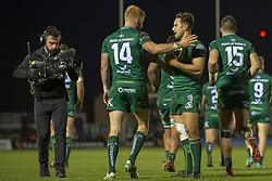 November 3, 2018 - Galway, Ireland - Darragh Leader of Connacht celebrates scoring with David Horwitz during the Guinness PRO14 match between Connacht Rugby and Dragons at the Sportsground in Galway, Ireland on November 3, 2018  (Credit Image: © Andrew Surma/NurPhoto via ZUMA Press)