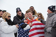 Shaun White, USA, celebrates with family after winning the mens Snowboard Halfpipe competition during the Pyeongchang Winter Olympics on 14th February 2018 at Phoenix Snow Park in South Korea