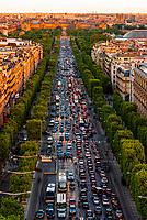 Traffic at sunset along the Champs Elysees, looking from Place de l'Etoile to Place de la Concorde, Paris, France.
