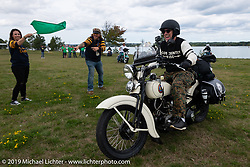 Tom Banks on his 1936 Harley-Davidson VLH Flathead leaving Aune Osborne Park in Sault Sainte Marie, the site of the official start of the Cross Country Chase motorcycle endurance run from Sault Sainte Marie, MI to Key West, FL. (for vintage bikes from 1930-1948). Thursday, September 5, 2019. Photography ©2019 Michael Lichter.