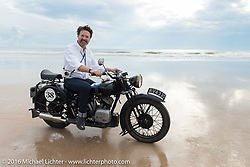 Paul D'Orleans on Bryan Bossier's 1933 Brough Superior 11-50 on the sand before the start of stage 1 of the Motorcycle Cannonball Cross-Country Endurance Run, which on this day ran from Daytona Beach to Lake City, FL., USA. Friday, September 5, 2014.  Photography ©2014 Michael Lichter.