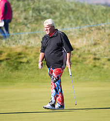 John Daly at the first hole. Alfred Dunhill Links Championship this morning at Championship Course at Carnoustie.