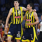 Fenerbahce Ulker's Roko Leni UKIC (R) and Emir PRELDZIC (L) during their Turkish Basketball league Play Off Final fourth leg match Galatasaray between Fenerbahce Ulker at the Abdi Ipekci Arena in Istanbul Turkey on Saturday 11 June 2011. Photo by TURKPIX