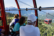 See the Coast Range from Peak 2 Peak Gondola, at Whistler Resort, British Columbia, Canada. Built in 2008, the Peak 2 Peak Gondola holds world records for the longest free span between ropeway towers (3.03 kilometers or 1.88 miles) and highest point above the ground (436 meters or 1430 feet). The Resort Municipality of Whistler is popular for year-round  outdoor sports aided by gondolas and chair lifts.