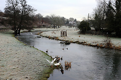 © Licensed to London News Pictures. 19/01/2015<br /> Freezing cold weather conditions overnight  (19.01.2015) along the River Darent, Eynsford in Kent.<br /> <br /> Weather warning has been issued across most of the uk as temperatures dropped overnight to -11c in parts.<br /> <br /> (Byline:Grant Falvey/LNP)