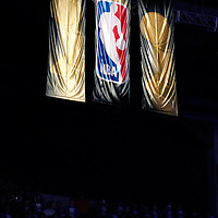 12 June 2012: NBA logo and Championships trophy banners are seen in the rafters during the Oklahoma City Thunder 105-94 victory over the Miami Heat, in Game 1 of the 2012 NBA Finals, at the Chesapeake Energy Arena, Oklahoma City, Oklahoma, USA.