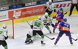 17.09.2021, Tiroler Wasserkraft Arena, Innsbruck, AUT, ICE, HC TWK Innsbruck Die Haie vs HK SZ Olimpija, Grunddurchgang, 1. Runde, im Bild 2 : 2 durch Alex Dostie // during the bet-at-home ICE Hockey League Basic round 1th round match between HC TWK Innsbruck Die Haie and HK SZ Olimpija at the Tiroler Wasserkraft Arena in Innsbruck, Austria on 2021/09/17. EXPA Pictures © 2021, PhotoCredit: EXPA/ Erich Spiess