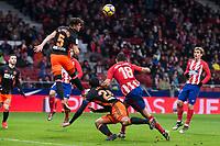 Atletico de Madrid Diego Costa and Valencia Gabriel Paulista during La Liga match between Atletico de Madrid and Valencia C.F. at Wanda Metropolitano in Madrid , Spain. February 04, 2018. (ALTERPHOTOS/Borja B.Hojas)