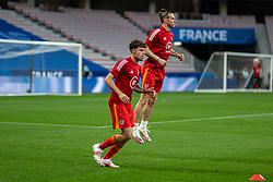 NICE, FRANCE - Wednesday, June 2, 2021: Wales' Neco Williams and captain Gareth Bale during the pre-match warm-up before an international friendly match between France and Wales at the Stade Allianz Riviera ahead of the UEFA Euro 2020 tournament. (Pic by Simone Arveda/Propaganda)