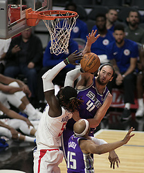 October 12, 2017 - Los Angeles, California, U.S - Kosta Koufos #41 of the Sacramento Kings goes rejects the ball during their preseason game against the Los Angeles Clippers on Thursday October 12, 2017 at the Galen Center in USC in Los Angeles, California. Clippers defeat Kings, 104-87. (Credit Image: © Prensa Internacional via ZUMA Wire)
