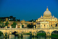 Ponte Sant'Angelo (bridge) with St. Peter's Basilica (Vatican) in back, Tiber River, Rome, Italy