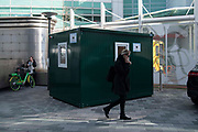 NHS Signs directing people to a NHS 111 Coronavirus Pod outside University College Hosptal on 6th March, 2020 in London, United Kingdom. On Thursday evening, a patient, reported to be a woman in her 70s, became the first person in the UK to die after being diagnosed.