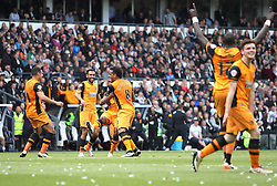 Moses Odubajo of Hull City (C) celebrates scoring his sides second goal - Mandatory by-line: Jack Phillips/JMP - 14/05/2016 - FOOTBALL - iPro Stadium - Derby, England - Derby County v Hull City - Sky Bet Championship Play-Off Semi-Final First-Leg