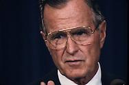 Bush 1 during speach during the administration of H.W. Bush (Bush 41)..Photograph by Dennis Brack, BB 29