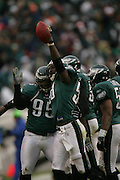 16 Jan 2005: Ike Reese of the Philadelphia Eagles after intercepting a pass from Daunte Culpepper during the Philadelphia Eagles 27-14 victory over the Minnesota Vikings at Lincoln Financial Field in Philadelphia, PA. <br /> <br /> Mandatory Credit:Todd Bauders/ContrastPhotography.com