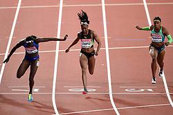 Tori Bowie of the USA, Elaine Thompson of Jamaica and <br /> Rosangela Santos of Brazil in action - Mandatory byline: Patrick Khachfe/JMP - 07966 386802 - 06/08/2017 - ATHLETICS - London Stadium - London, England - Women's 100m Final - IAAF World Championships