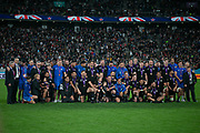New Zealand team after reciving the bronze medal after the Rugby World Cup bronze final match between New Zealand and Wales Friday, Nov, 1, 2019, in Tokyo. New Zealand defeated Wales 40-17.  (Flor Tan Jun/Espa-Images-Image of Sport)