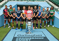 Football - 2019 / 2020 Gallagher Premiership Rugby - New Season Launch Media Photocall<br /> <br /> (From l to r), Bristol Rugby's Nathan Hughes, Northampton Saints' Tom Wood, Wasps' Dan Robson, Sale Sharks' Chris Ashton, Harlequins' Mike Brown, Gloucester Rugby's Danny Cipriani, Saracens' Alex Goode, Exeter Chiefs' Don Armand, Bath Rugby's Rhys Priestland, Leicester Tigers' Tom Youngs, Worcester Warriors' Francois Hougaard, London Irish' Blair Cowan, at Twickenham.<br /> <br /> COLORSPORT/ASHLEY WESTERN